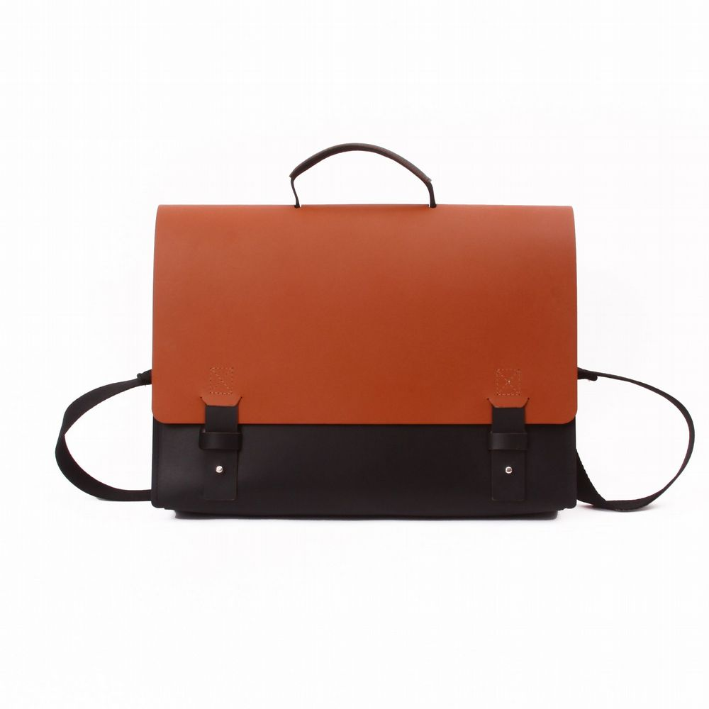 Recycled Leather - New York Briefcase - Black & Tan